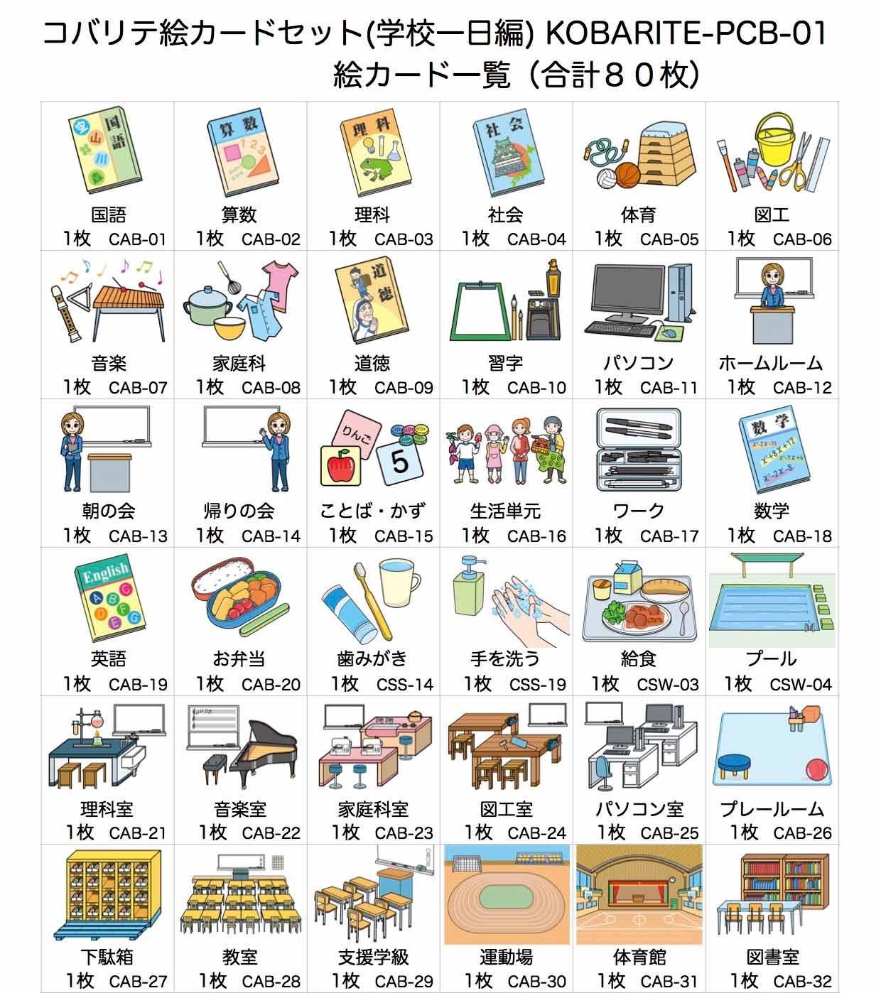 絵カードセット(学校一日編)一覧(1/2)
