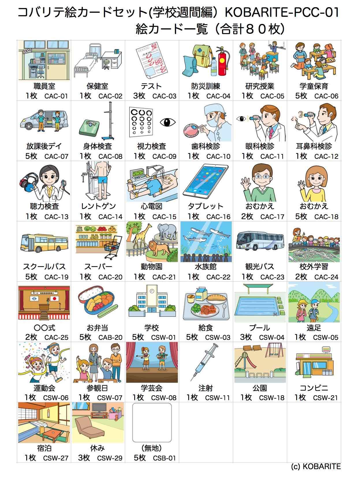 絵カードセット(学校週間編)一覧