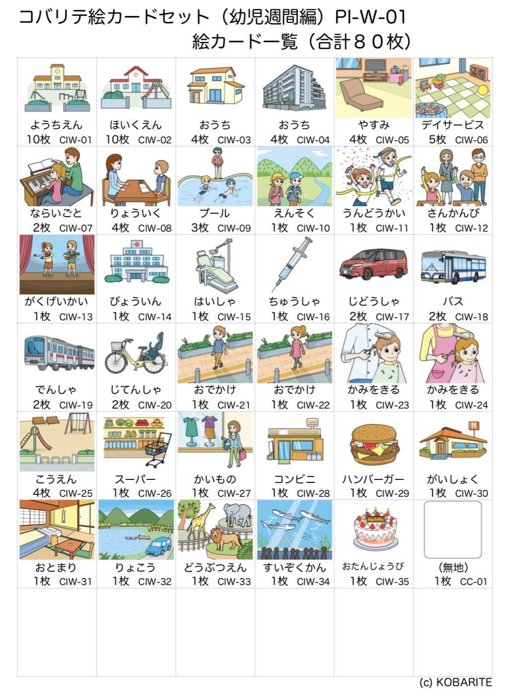 絵カードセット(幼児週間編)一覧