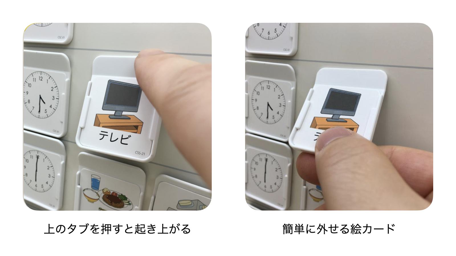 カードフォルダー:上のタブを押すと起き上がり、簡単に外せる